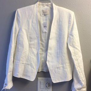 NWT- Ann Taylor Loft-white Linen Jacket- size 10